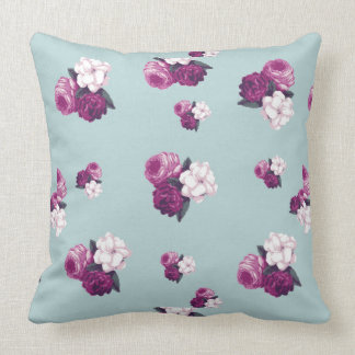 Vintage Purple Flowers on Light Blue Throw Pillow
