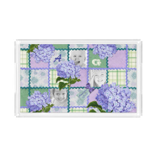 Vintage Purple Hydrangea Instagram Photo Quilt Acrylic Tray
