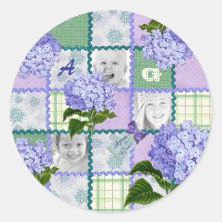 Vintage Purple Hydrangea Instagram Photo Quilt Classic Round Sticker
