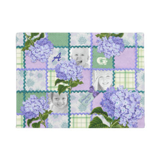 Vintage Purple Hydrangea Instagram Photo Quilt Doormat