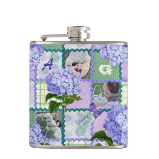 Vintage Purple Hydrangea Instagram Photo Quilt Hip Flask