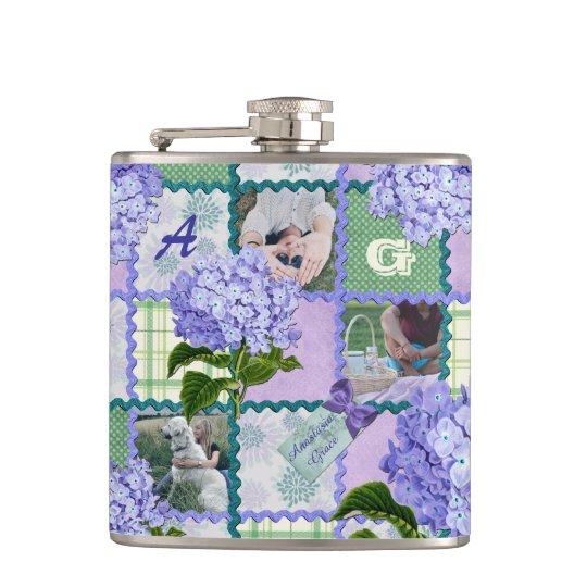 Vintage Purple Hydrangea Instagram Photo Quilt Hip Flask