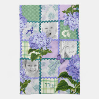 Vintage Purple Hydrangea Instagram Photo Quilt Kitchen Towel