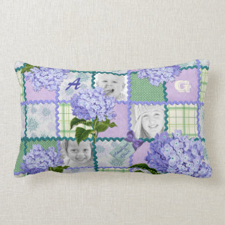 Vintage Purple Hydrangea Instagram Photo Quilt Lumbar Pillow