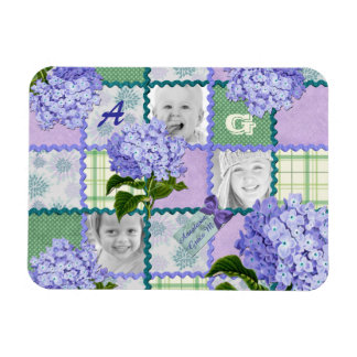 Vintage Purple Hydrangea Instagram Photo Quilt Magnet