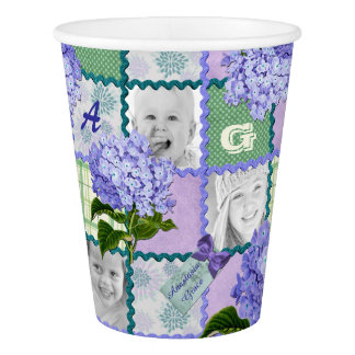 Vintage Purple Hydrangea Instagram Photo Quilt Paper Cup