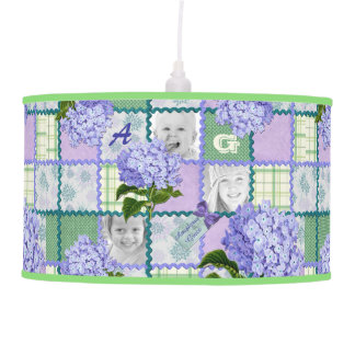 Vintage Purple Hydrangea Instagram Photo Quilt Pendant Lamp