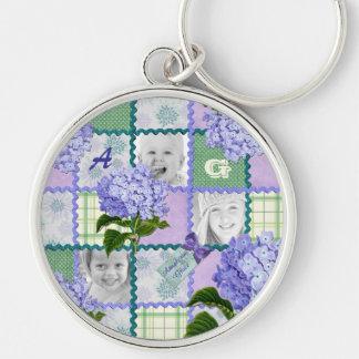 Vintage Purple Hydrangea Instagram Photo Quilt Silver-Colored Round Keychain