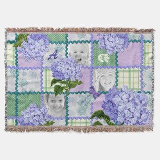 Vintage Purple Hydrangea Instagram Photo Quilt Throw Blanket