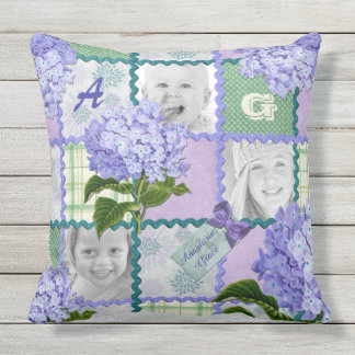Vintage Purple Hydrangea Instagram Photo Quilt Throw Pillow