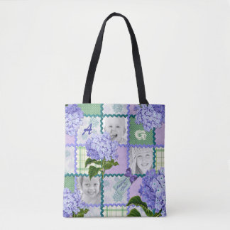 Vintage Purple Hydrangea Instagram Photo Quilt Tote Bag