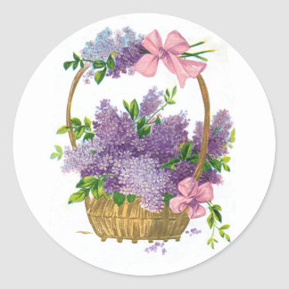 Vintage Purple Lilacs Antique Flower Bouquet Classic Round Sticker