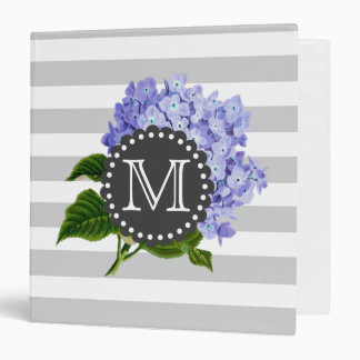 Vintage Purple Lilacs Grey Stripes Monogram Binder