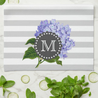 Vintage Purple Lilacs Grey Stripes Monogram Kitchen Towel