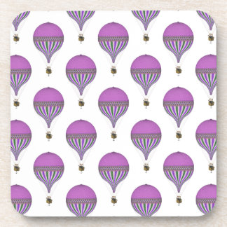 Vintage Purple, Lt Green, White Hot Air Balloons Coaster