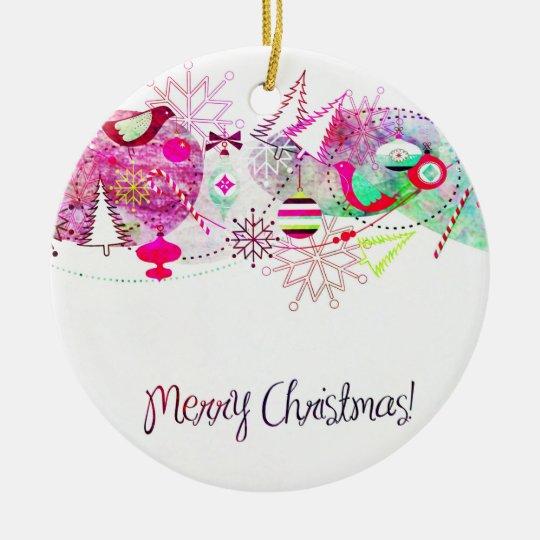 Vintage Purple Merry Christmas Ornaments