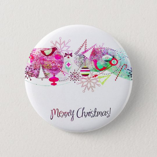 Vintage Purple Merry Christmas Ornaments 2 Inch Round Button