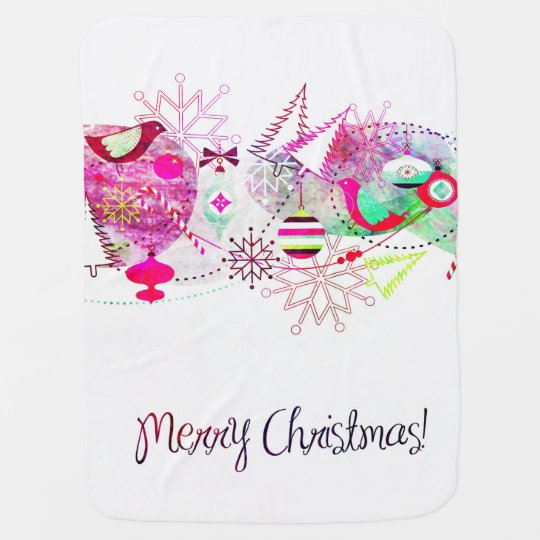 Vintage Purple Merry Christmas Ornaments Baby Blanket