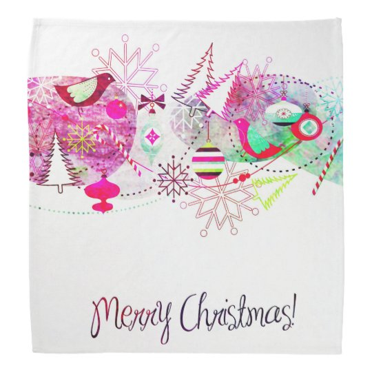 Vintage Purple Merry Christmas Ornaments Bandana