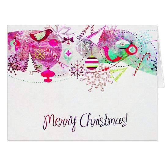 Vintage Purple Merry Christmas Ornaments Card