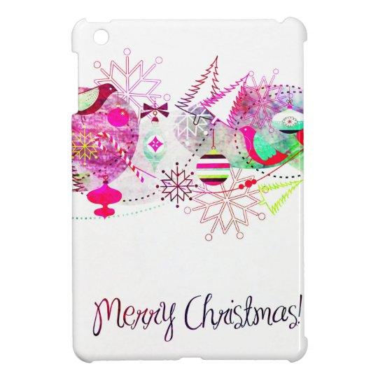 Vintage Purple Merry Christmas Ornaments Case For The iPad Mini