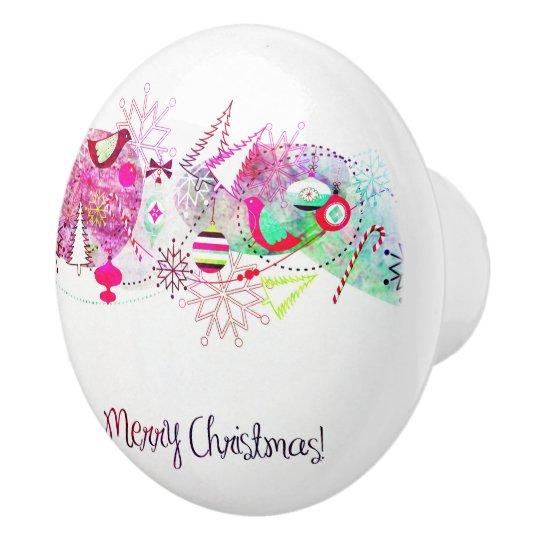 Vintage Purple Merry Christmas Ornaments Ceramic Knob