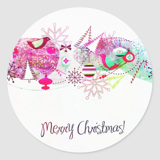 Vintage Purple Merry Christmas Ornaments Classic Round Sticker