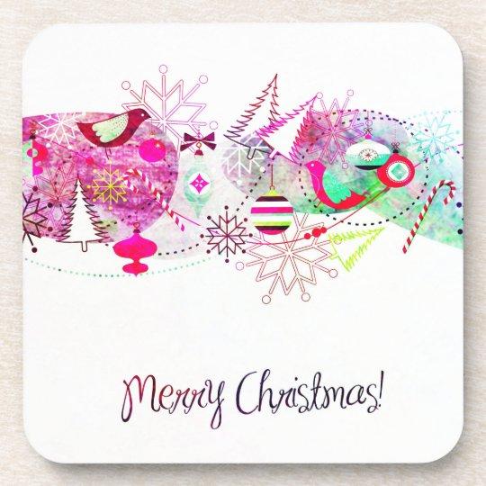 Vintage Purple Merry Christmas Ornaments Coaster