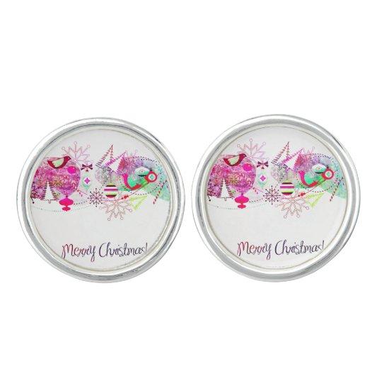 Vintage Purple Merry Christmas Ornaments Cufflinks