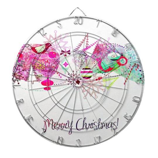 Vintage Purple Merry Christmas Ornaments Dartboard