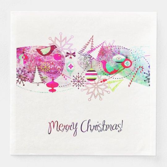 Vintage Purple Merry Christmas Ornaments Disposable Napkin