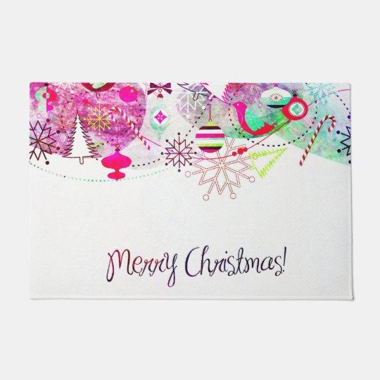 Vintage Purple Merry Christmas Ornaments Doormat