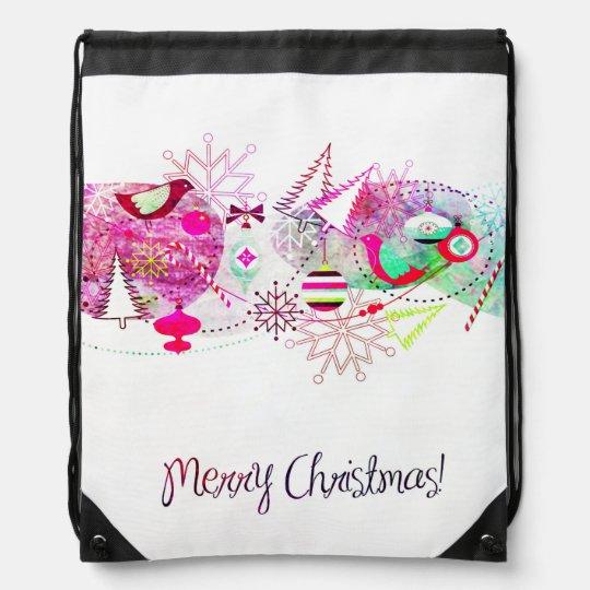 Vintage Purple Merry Christmas Ornaments Drawstring Bag