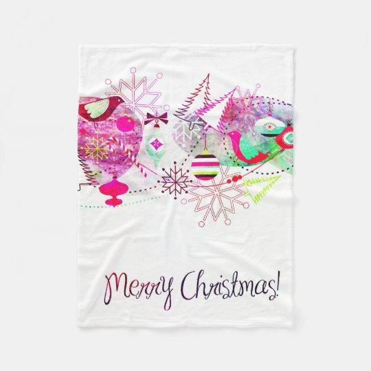 Vintage Purple Merry Christmas Ornaments Fleece Blanket
