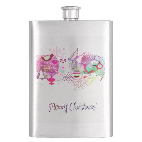 Vintage Purple Merry Christmas Ornaments Hip Flask