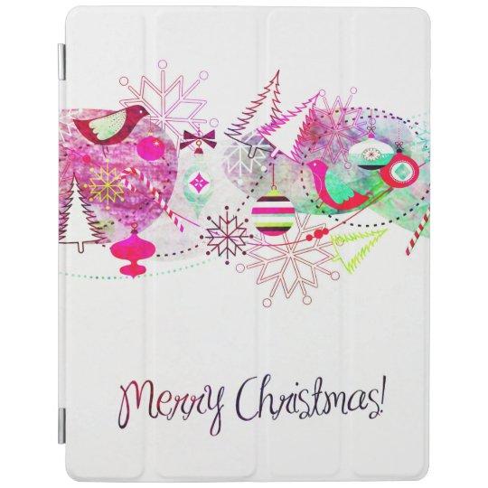 Vintage Purple Merry Christmas Ornaments iPad Cover