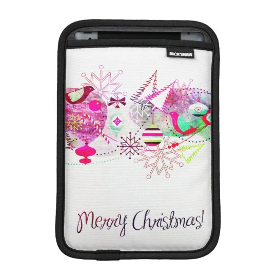 Vintage Purple Merry Christmas Ornaments iPad Mini Sleeve