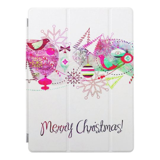 Vintage Purple Merry Christmas Ornaments iPad Pro Cover