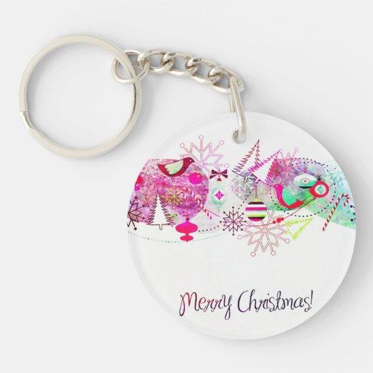 Vintage Purple Merry Christmas Ornaments Keychain