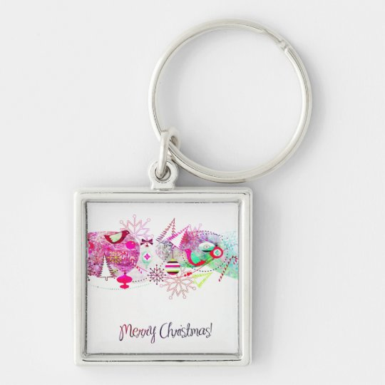 Vintage Purple Merry Christmas Ornaments Keychain