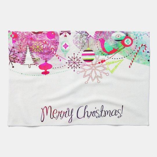 Vintage Purple Merry Christmas Ornaments Kitchen Towel
