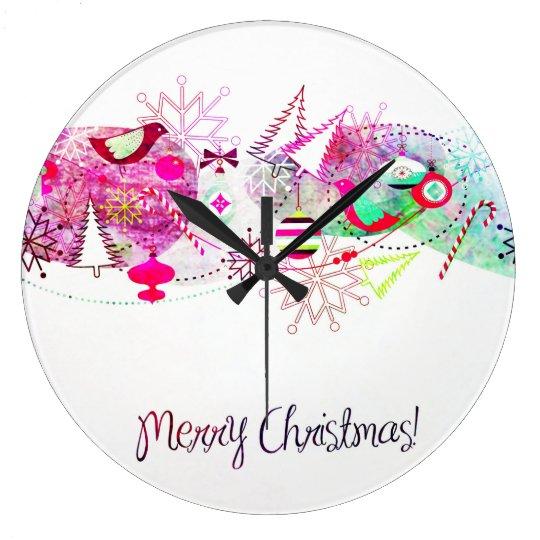 Vintage Purple Merry Christmas Ornaments Large Clock