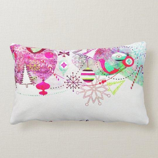 Vintage Purple Merry Christmas Ornaments Lumbar Pillow