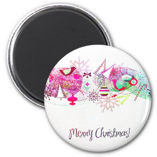 Vintage Purple Merry Christmas Ornaments Magnet