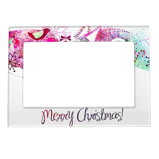 Vintage Purple Merry Christmas Ornaments Magnetic Picture Frame