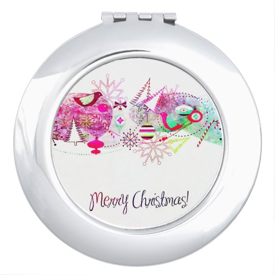 Vintage Purple Merry Christmas Ornaments Mirror For Makeup