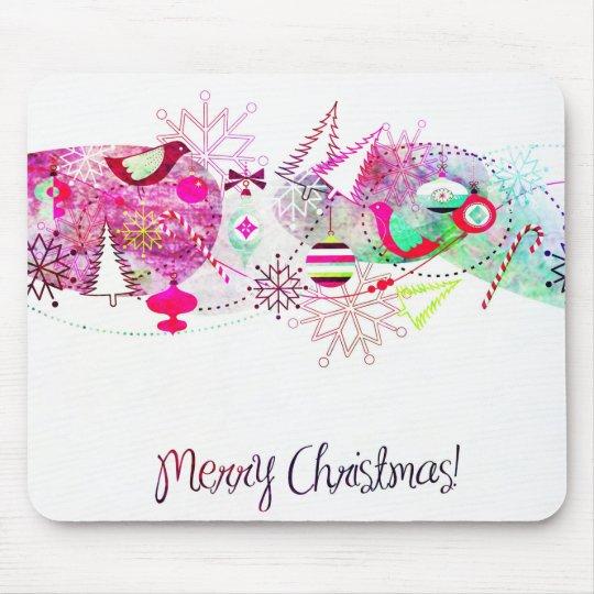 Vintage Purple Merry Christmas Ornaments Mouse Pad