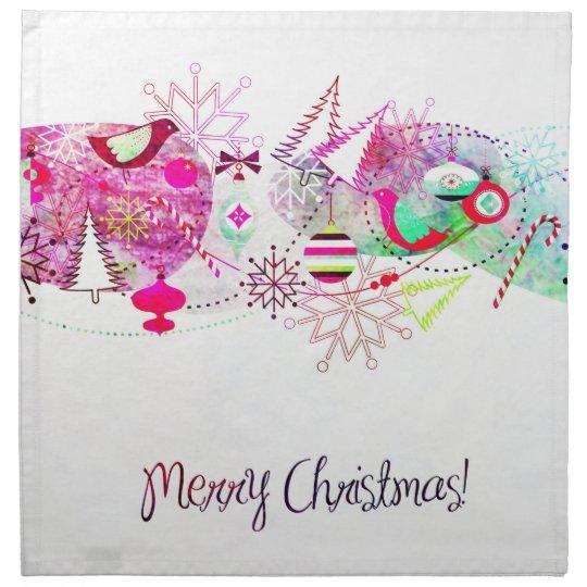 Vintage Purple Merry Christmas Ornaments Napkin
