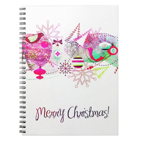 Vintage Purple Merry Christmas Ornaments Notebook