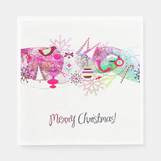 Vintage Purple Merry Christmas Ornaments Paper Napkin